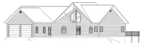 Timberhaven log home design, log home floor plan, 4399, Elevation