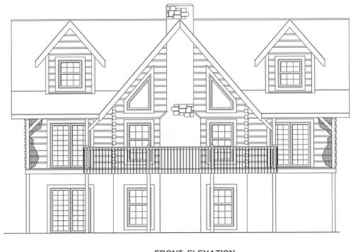 Timberhaven log home design, log home floor plan, 4421, Elevation
