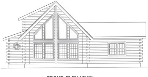 Timberhaven log home design, log home floor plan, 4439, Elevation