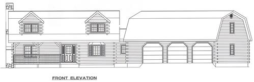 Timberhaven log home design, log home floor plan, 4522, Elevation