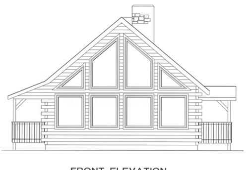 Timberhaven log home design, log home floor plan, 4529, Elevation