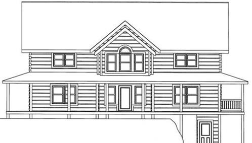Timberhaven log home design, log home floor plan, 4558, Elevation