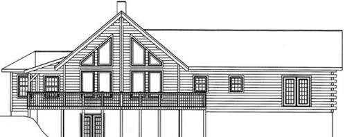 Timberhaven log home design, log home floor plan, 4630, Elevation