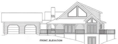 Timberhaven log home design, log home floor plan, 4674, Elevation