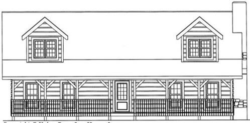 Timberhaven log home design, log home floor plan, 4692, Elevation