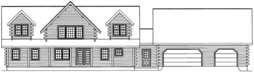 Timberhaven log home design, log home floor plan, 4734, Elevation