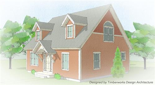 Timberhaven log home design, log home floor plan, Addison Timber Frame, Elevation