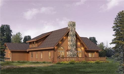Timberhaven log home design, log home floor plan, Alpine FP3, C1, R2, Elevation