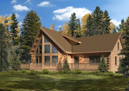 Timberhaven log home design, log home floor plan, Alpine, Elevation