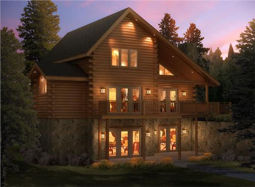 Timberhaven log home design, log home floor plan, Appalachian W2-F4, R1, L1, RR3, Elevation