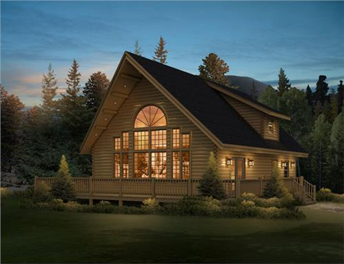 Timberhaven log home design, log home floor plan, Aspen Hill FP3, R9, F2, B2, Elevation