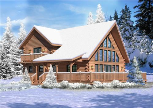 Timberhaven log home design, log home floor plan, Aspen Hill I, Elevation
