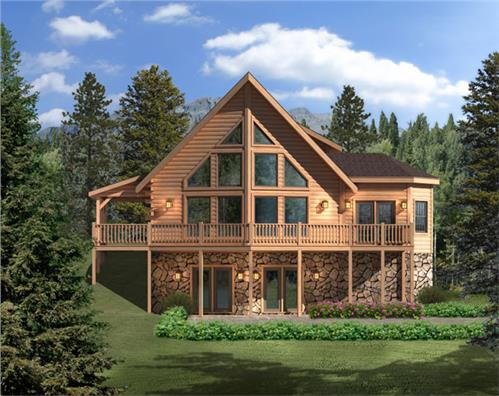 Timberhaven log home design, log home floor plan, Aspen Hill II, Elevation