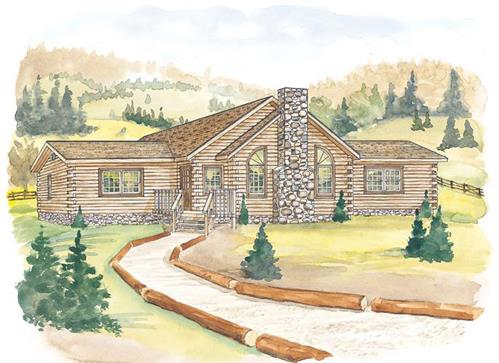 Timberhaven log home design, log home floor plan, Bald Eagle, Elevation