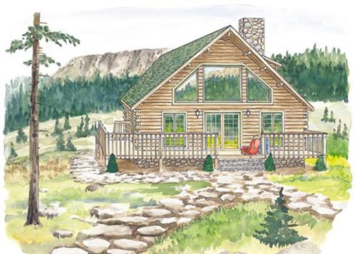 Timberhaven log home design, log home floor plan, Beech Mountain, Elevation