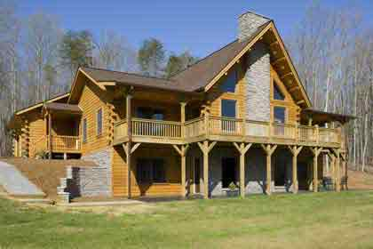 Timberhaven log home design, log home floor plan, Bennett, Elevation