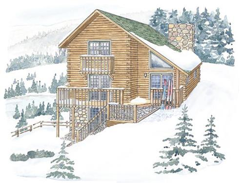 Timberhaven log home design, log home floor plan, Berkshire, Elevation