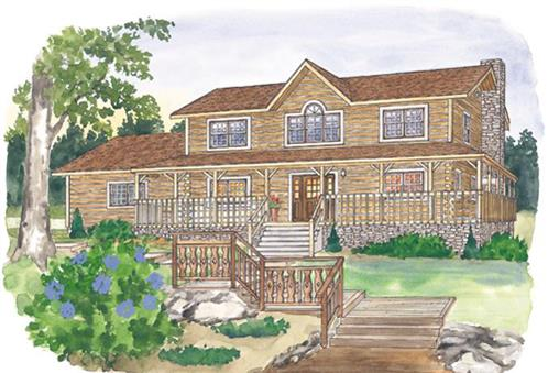 Timberhaven log home design, log home floor plan, Brandywine, Elevation