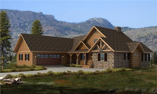 Timberhaven log home design, log home floor plan, Bridgeport - Hybrid, Elevation