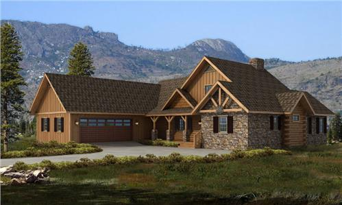 Timberhaven log home design, log home floor plan, Bridgeport Log Hybrid, Elevation