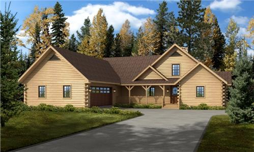Timberhaven log home design, log home floor plan, Bridgeport, Elevation