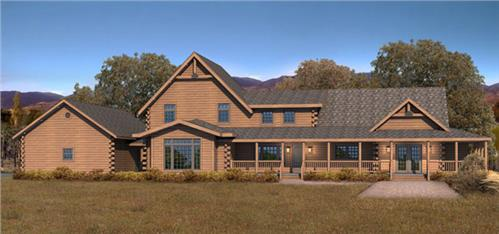Timberhaven log home design, log home floor plan, Brightwater, Elevation