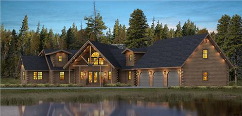 Timberhaven log home design, log home floor plan, Bristol, Elevation