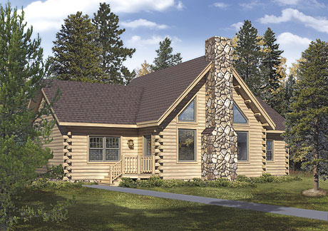 Timberhaven log home design, log home floor plan, Brookside , Elevation