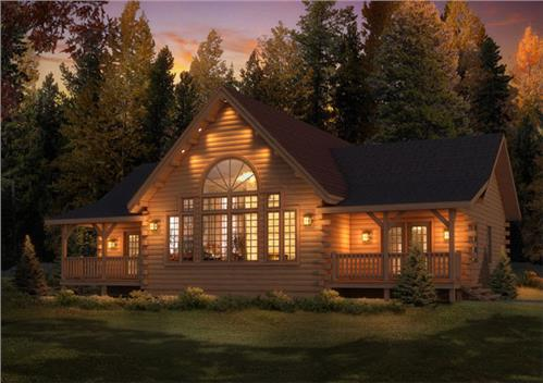 Timberhaven log home design, log home floor plan, Brookside I, Elevation