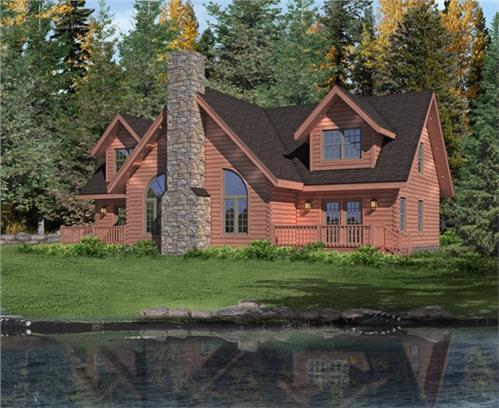 Timberhaven log home design, log home floor plan, Brookside II, Elevation