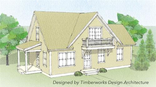 Timberhaven log home design, log home floor plan, Calais Timber Frame, Elevation