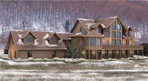 Timberhaven log home design, log home floor plan, Calverton, Elevation