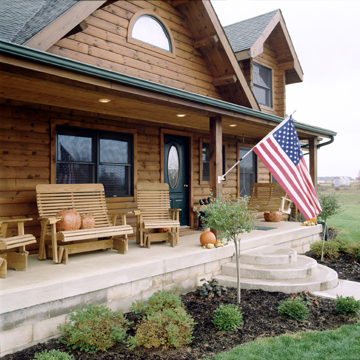 Timberhaven log home design, log home floor plan, Carter, Elevation