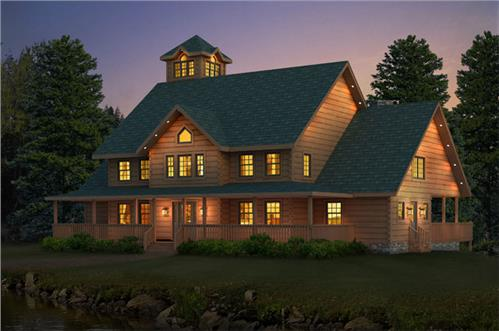 Timberhaven log home design, log home floor plan, Castleton, Elevation