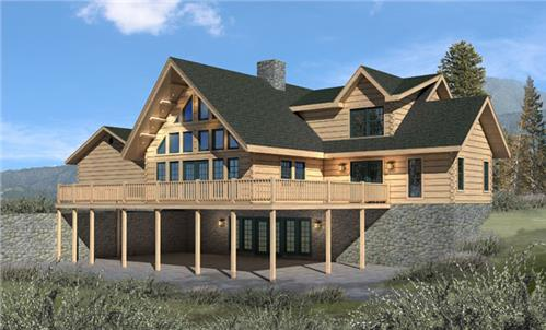 Timberhaven log home design, log home floor plan, Chesapeake II, Elevation