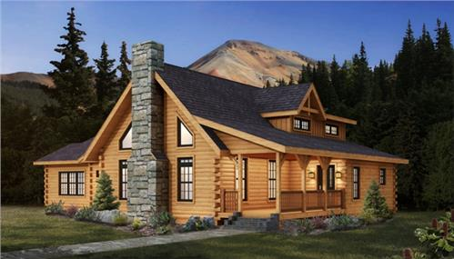 Timberhaven log home design, log home floor plan, Cheyenne, Elevation