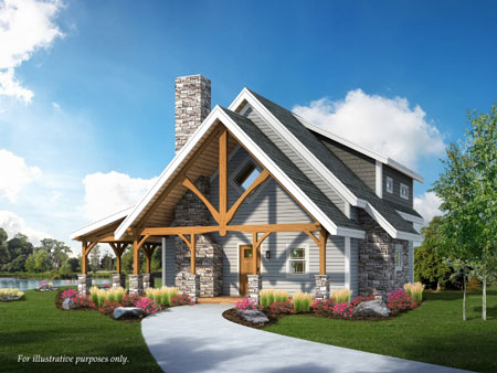 Timberhaven log home design, log home floor plan, Clear Creek Hybrid, Elevation