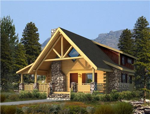 Timberhaven log home design, log home floor plan, Clear Creek Log Hybrid, Elevation