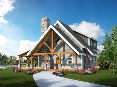 Timberhaven log home design, log home floor plan, Clear Creek Timber Frame, Elevation
