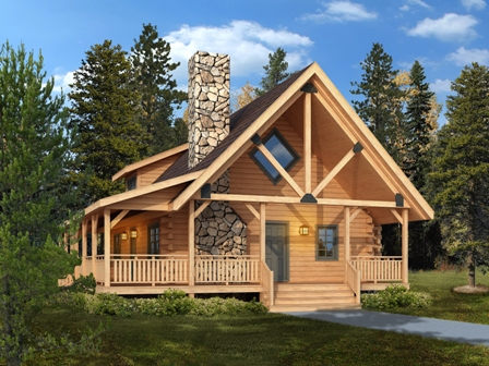 Timberhaven log home design, log home floor plan, Clear Creek, Elevation