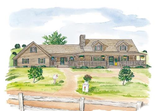 Timberhaven log home design, log home floor plan, Clearfield A, Elevation