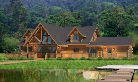 Timberhaven log home design, log home floor plan, Clermont, Elevation