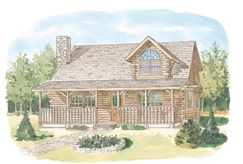 Timberhaven log home design, log home floor plan, Clinton, Elevation