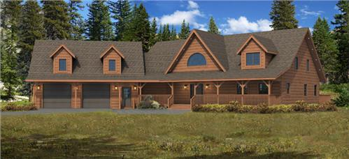 Timberhaven log home design, log home floor plan, Cloverdale, Elevation