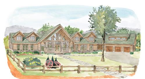 Timberhaven log home design, log home floor plan, Colebrook, Elevation