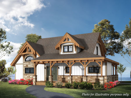 Timberhaven log home design, log home floor plan, Cottage Hybrid, Elevation