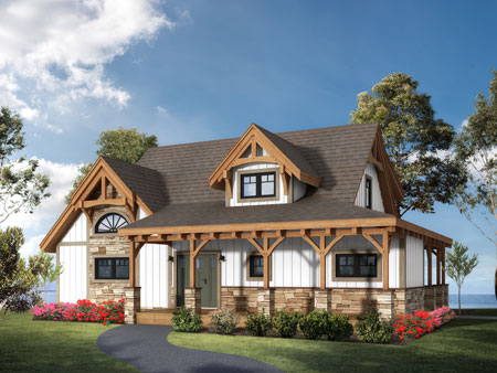 Timberhaven log home design, log home floor plan, Cottage Timber Frame, Elevation
