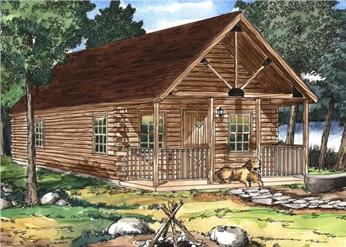 Timberhaven log home design, log home floor plan, Cove Creek Log Cabin Series, Elevation
