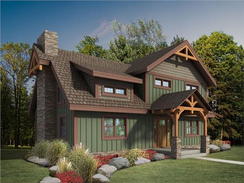 Timberhaven log home design, log home floor plan, Craftsman Timber Frame, Elevation