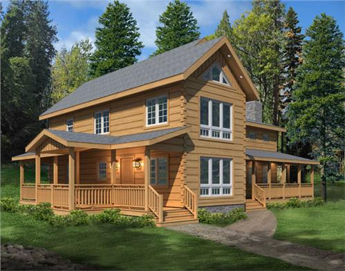 Timberhaven log home design, log home floor plan, Donegal L4, RR1, Elevation